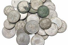 Vecchie monete tailandesi immagine stock