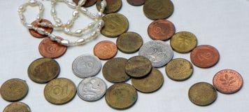 Vecchie monete tedesche Fotografia Stock