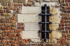 Vecchie muratura e finestra a Bruges, Fiandre, Belgio Fotografie Stock Libere da Diritti