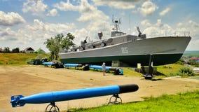 Vecchie navi da guerra militari dell'URSS Fotografie Stock