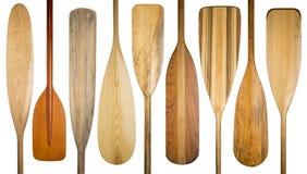 Vecchie pagaie di legno della canoa Fotografia Stock