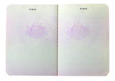 Vecchie pagine australiane in bianco del passaporto Fotografie Stock