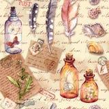 Vecchie pagine d'annata con le note scritte a mano, collezioni Piume, conchiglie, bottiglie di vetro con le farfalle, fiori illustrazione di stock