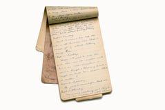 Vecchie pagine del libro/diario di memoria Fotografia Stock