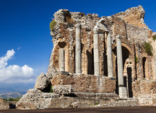 Vecchie pareti del Greco. Teatro antico, Taormina, Etna, Sicilia, Fotografia Stock