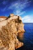 Vecchie pareti della città di Dubrovnik Immagine Stock Libera da Diritti
