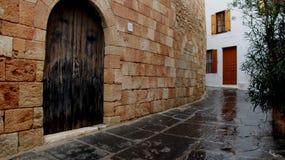 Vecchie pareti di pietra in Lindos immagini stock