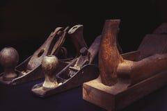 Vecchie piallatrici del banco - strumenti di legno Fotografia Stock