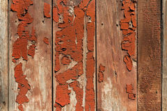 Vecchie plance di legno con i resti di pittura rossa Fotografia Stock Libera da Diritti