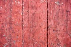 Vecchie plance di legno rosse della parete Fotografia Stock