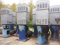 Vecchie pompe idrauliche elettriche Fotografie Stock