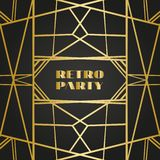 Vecchie retro strutture d'annata con le linee Stile degli anni 20 Decorazione premio dorata reale royalty illustrazione gratis
