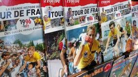 Vecchie riviste L'Equipe fotografia stock