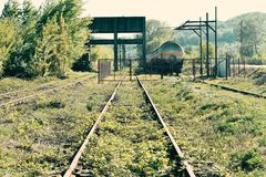 Vecchie rotaie arrugginite abbandonate con le erbacce e le piante attraverso loro fotografie stock libere da diritti