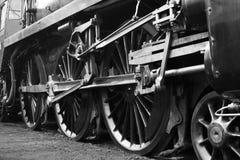 Vecchie rotelle del treno del vapore Immagine Stock
