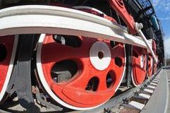 Vecchie rotelle della locomotiva di vapore Fotografia Stock
