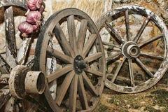 Vecchie rotelle di legno Immagine Stock Libera da Diritti