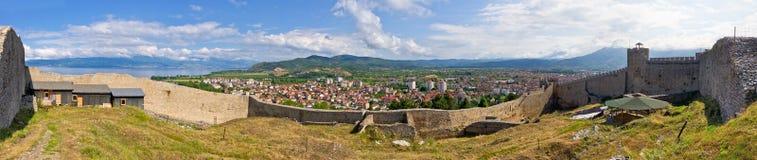 Vecchie rovine del castello in Ocrida, Macedonia Fotografia Stock Libera da Diritti