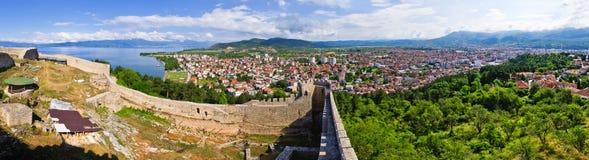 Vecchie rovine del castello in Ocrida, Macedonia Immagine Stock Libera da Diritti