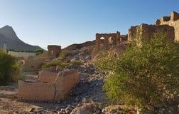Vecchie rovine del villaggio nell'Oman fotografia stock