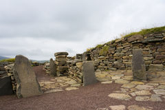 Vecchie rovine di Scatness, Shetland Immagine Stock