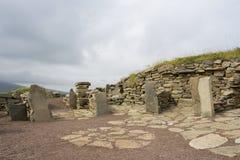 Vecchie rovine di Scatness, Shetland Fotografia Stock
