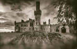 Vecchie rovine medievali del castello, albero e cielo tempestoso nello stile di seppia fotografia stock libera da diritti