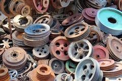 Vecchie ruote e parti Fotografie Stock