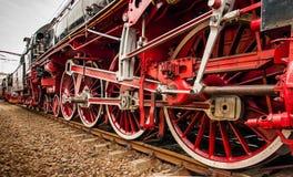 Vecchie ruote locomotive Fotografie Stock