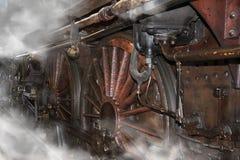 Vecchie ruote locomotive Immagini Stock