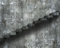Vecchie scale concrete sporche con la parete, rappresentazione 3D Fotografia Stock Libera da Diritti