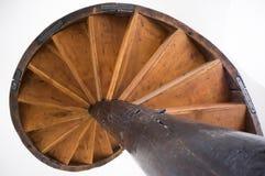 Vecchie scale di legno a spirale Fotografia Stock