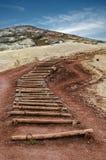 Vecchie scale di legno verso la cima della collina fotografie stock