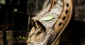 Vecchie scarpe che raffreddano camminata Immagini Stock Libere da Diritti