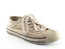 Vecchie scarpe da tennis bianche Fotografie Stock