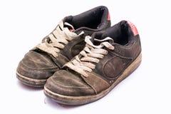 Vecchie scarpe irregolari Fotografie Stock