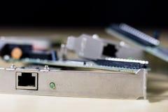 Vecchie schede di rete per i desktop computer Schede di rete con rj44 Fotografia Stock
