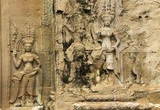 Sculture di Devata, tempio di Angkor Wat, Cambogia fotografia stock