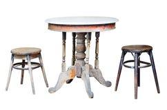 Vecchie sedie e vecchia tavola Fotografia Stock Libera da Diritti