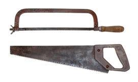 Vecchie seghe per metallo e legno Fotografie Stock