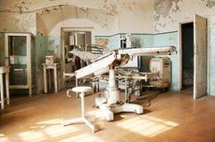 Vecchie stanza e sedia chirurgiche abbandonate Fotografia Stock Libera da Diritti