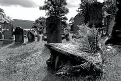 Vecchie tombe e lapidi in un cimitero in Scozia Fotografie Stock Libere da Diritti