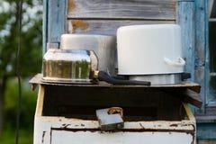 Vecchie vaschette. Fotografia Stock Libera da Diritti