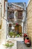 Vecchie vie della città di Rodi Fotografia Stock