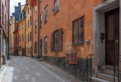 Vecchie vie di Stoccolma Fotografia Stock