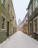 Vecchie vie medievali di Tallinn fotografia stock