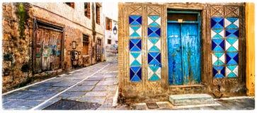Vecchie vie variopinte affascinanti della Grecia, città di Rethymno in Creta Fotografia Stock Libera da Diritti