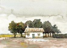 Vecchio acquerello degli alberi e del cottage Fotografie Stock