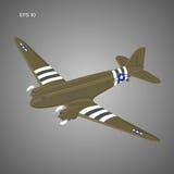 Vecchio aereo di linea d'annata del motore a pistone Retro illustrazione leggendaria di vettore degli aerei Fotografia Stock Libera da Diritti