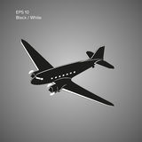 Vecchio aereo di linea d'annata del motore a pistone Retro illustrazione leggendaria di vettore degli aerei Immagini Stock Libere da Diritti